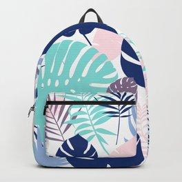 Tropical Leaves Blue Purple Backpack