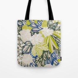 White chrysanthemums -ink floral Tote Bag
