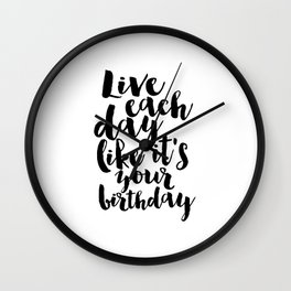 kate spade inspired, live each day like it's your birthday,birthday gift,gift for friend,wall art Wall Clock