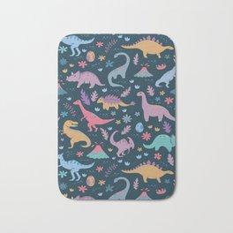 Dinosaur + Flowers Pattern Bath Mat
