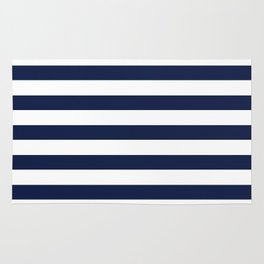 Nautical Navy Blue and White Stripes Rug