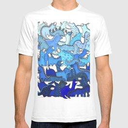 Blue Dinosaur Gradient T-shirt