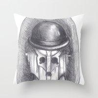 chaplin Throw Pillows featuring cyber chaplin by ronnie mcneil