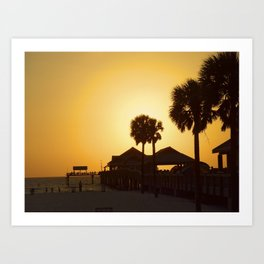 Sunset at Clearwater with silhouette of the pier Art Print