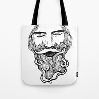 beard Tote Bags featuring Beard  by Holly Harper