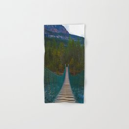 Suspension Bridge along the Berg Lake Trail in British Columbia, Canada Hand & Bath Towel