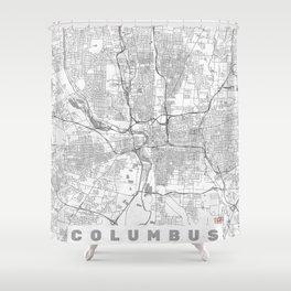 Columbus Map Line Shower Curtain