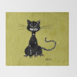 Ragged Evil Black Cat Throw Blanket