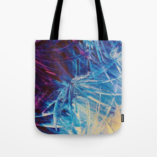 NIGHT FLOWERS - Beautiful Midnight Florals Feathers, Eggplant Lilac Periwinkle Cream Modern Abstract Tote Bag
