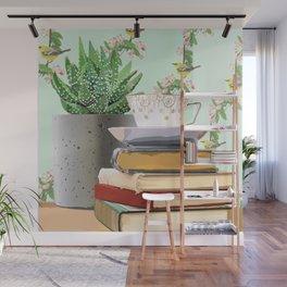 Tea and book love Wall Mural