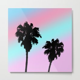 Pastel Sunset Palm Tree Silhouette Metal Print