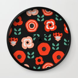 Midnight floral decor Wall Clock