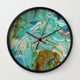 Colorful Blue Fluid Acrylic Painting Wall Clock