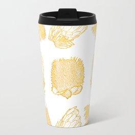 Golden Australian Native Florals Travel Mug