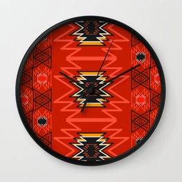 Ethnic lines in red Wall Clock