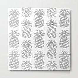 Retro Mid Century Modern Pineapple Pattern Gray Metal Print