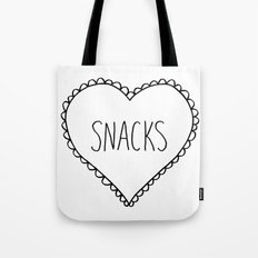 I Love Snacks Tote Bag