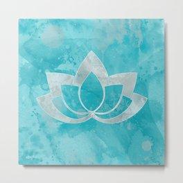 Lotus Flower on Aqua Metal Print