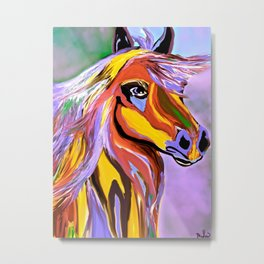 Horse Posing Pretty Oil Brown Metal Print