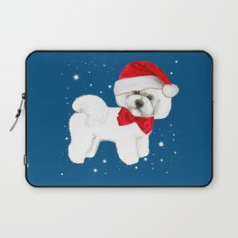 Bichon Frise red christmas holiday themed pattern print pet friendly dog breed gifts Laptop Sleeve