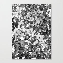 Night Garden Black and White Canvas Print