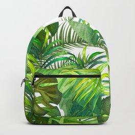 Tropical Leaf Pattern 02- Banana, Palm Leaf, Monstera Leaf - Green, Freshness, Tropical, Botanical Backpack