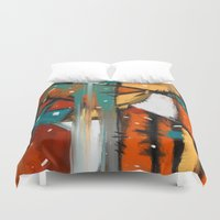 camp Duvet Covers featuring Camp fire by mystudio69