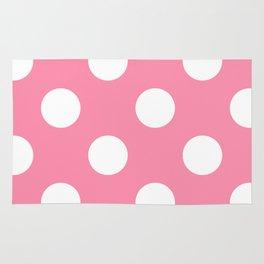 Large Polka Dots - White on Flamingo Pink Rug
