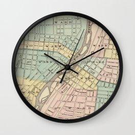 Vintage Map of Aurora IL (1876) Wall Clock
