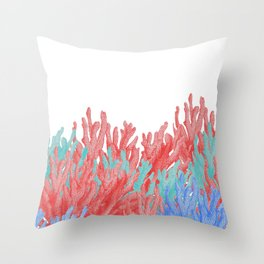 Modern nautical coral blue teal floral reef Throw Pillow