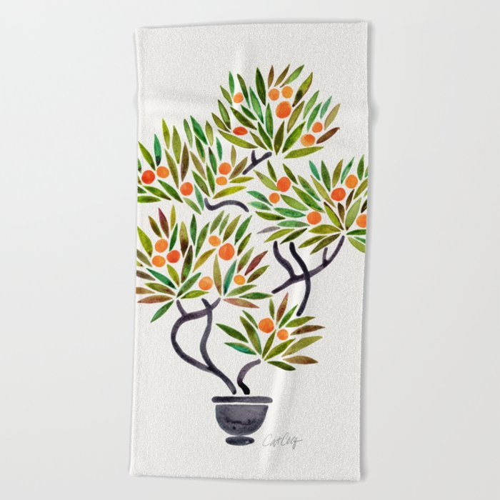 Bonsai Tree – Orange Fruit Beach Towel