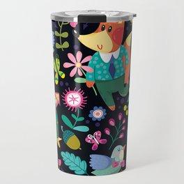 Fox and Bird Floral Pattern Dark Travel Mug