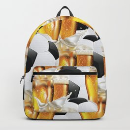 Two Glasses of beer and soccer ball Backpack