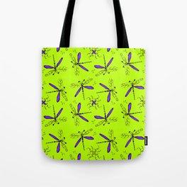 Purple Dragonflys On Lime Green Back Tote Bag