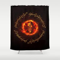 gondor Shower Curtains featuring Eye Of Sauron by Inara