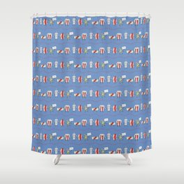 Let's All Go to the Lobby! - Blue Shower Curtain