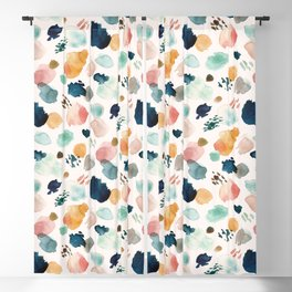WILD WHIMS Abstract Watercolor Brush Strokes Blackout Curtain