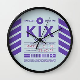 Baggage Tag D - KIX Osaka Kansai Japan Wall Clock
