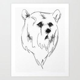 sad bear Art Print
