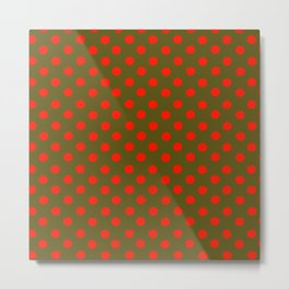Polka Dot Madness, Brown and Red Metal Print
