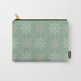 Snowflakes Cross Stitch Pattern (Mint) Carry-All Pouch