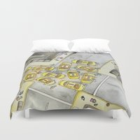 taxi driver Duvet Covers featuring Taxi by M. Noelle Studios