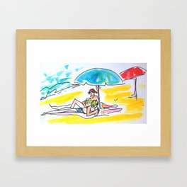 À la plage Framed Art Print