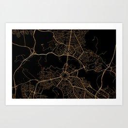 Canberra map, Australia Art Print