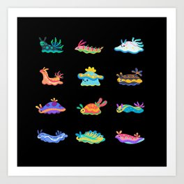Sea slug - black Art Print