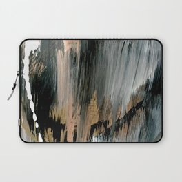01025: a neutral abstract in gold, black, and white Laptop Sleeve