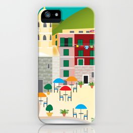 Cinque Terre, Italy - Skyline Illustration by Loose Petals iPhone Case