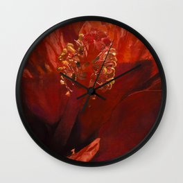 Blaze Orange Hibiscus Flower Wall Clock