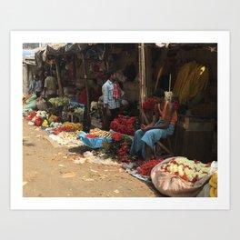 Flower Market Howrah India Art Print