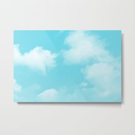 Aqua Blue Clouds Metal Print